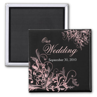 Elegant Pink Flower Swirls Save The Date Wedding Square Magnet