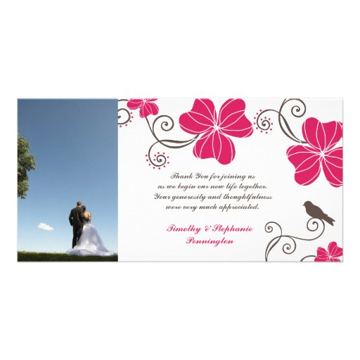 Elegant pink flowers wedding thank you photocard photo card