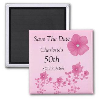 Elegant Pink Flowers With Diamonds Magnet