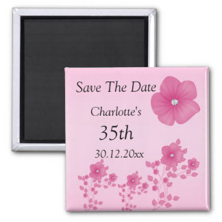 Elegant Pink Flowers With Diamonds Magnet