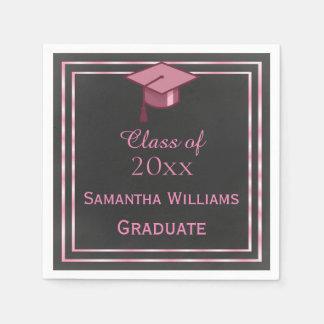 Elegant Pink Framed Graduation Disposable Napkins