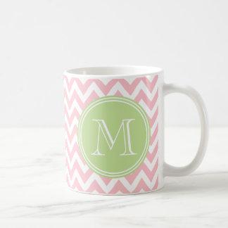 Elegant pink geometry of chevrón and monograma mug