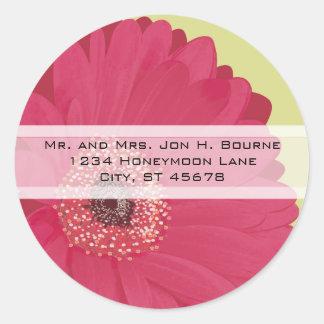Elegant Pink Gerber Daisy Wedding Stickers