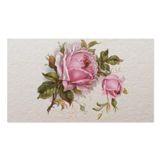 Elegant Pink Girly Vintage Cute Rose Business Card Template