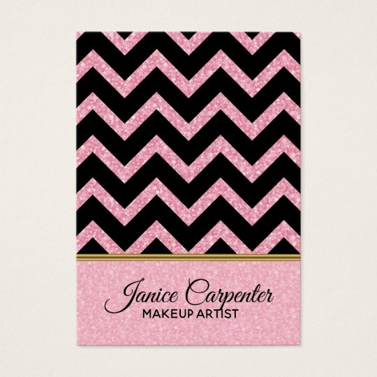Elegant Pink Glitter Black Chevron Gold Accents Business Card