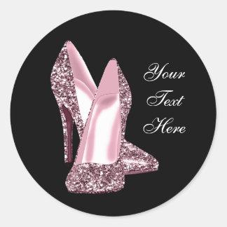 Elegant Pink Glitter High Heel Shoe Round Sticker
