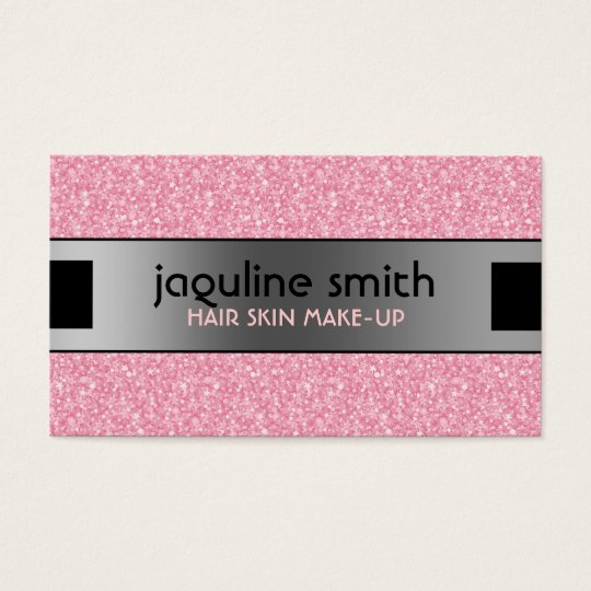 Elegant Pink Glitter Silver & Black Accents Business Card