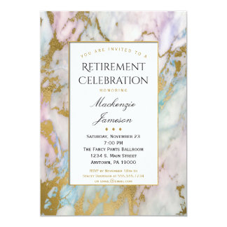 Elegant Pink Gold Marble Retirement Invitation