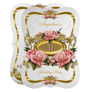 Elegant Pink Gold Roses White 50th Birthday Party Card