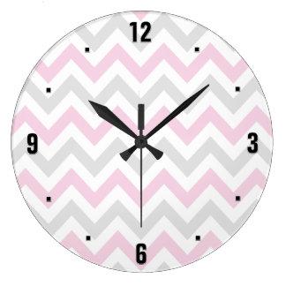 Elegant Pink, Grey and White Chevron Pattern Large Clock