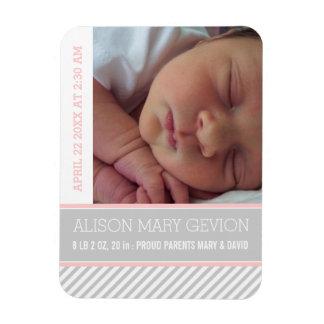 Elegant pink, grey striped baby girl birth magnets