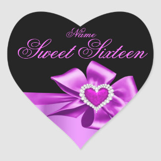 Elegant Pink Heart Birthday Party Sweet Sixteen Heart Sticker