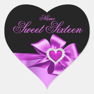 Elegant Pink Heart Birthday Party Sweet Sixteen Heart Sticker