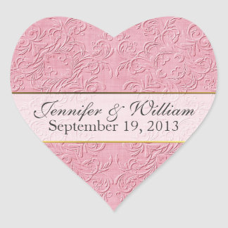 Elegant Pink Heart Custom Wedding Sticker