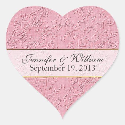 Elegant Pink Heart Custom Wedding Sticker
