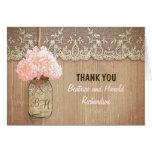 Elegant pink hydrangea mason jar wedding thank you card