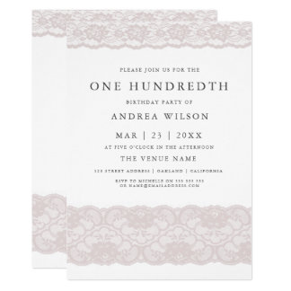 Elegant Pink Lace 100th birthday Party Invite