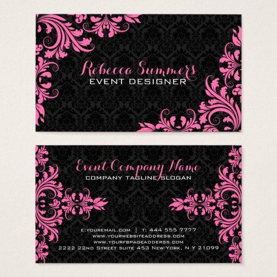 Elegant Pink Lace Black Damasks Business Card