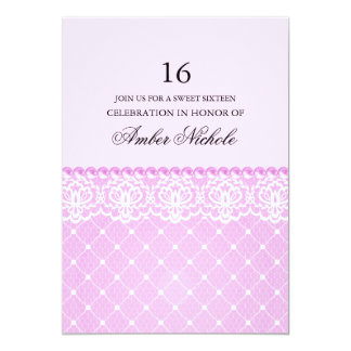 Elegant Pink Lace & pearl | Sweet 16 Invite