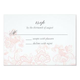 Elegant Pink Lace Wedding RSVP Card 9 Cm X 13 Cm Invitation Card