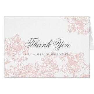 Elegant Pink Lace Wedding Thank You Card