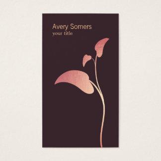 Elegant Pink Leaf Networking Business Card