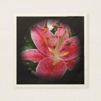 Elegant Pink Lily Paper Serviettes