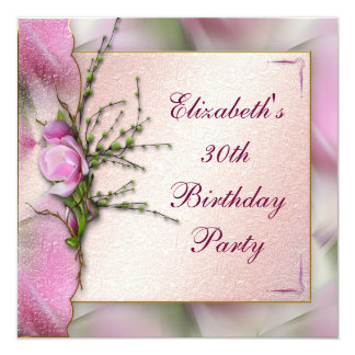 Elegant Pink Magnolia Birthday Party Card