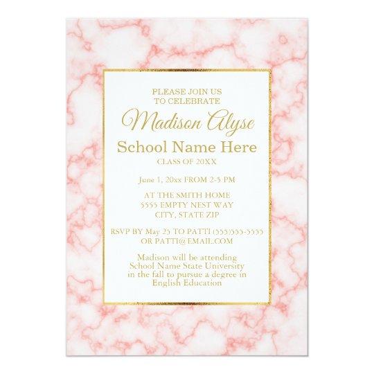 Elegant Pink Marble and Gold Chevron Graduation Card
