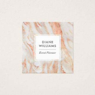 Elegant Pink Marble Pattern Square Business Card