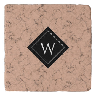 Elegant Pink Marble with Black Veins Monogram Trivet