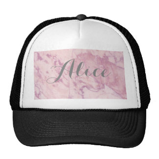 Elegant Pink Marble with Gray Name Cap