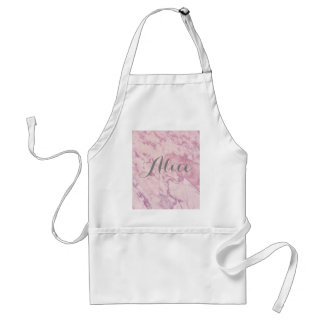 Elegant Pink Marble with Gray Name Standard Apron