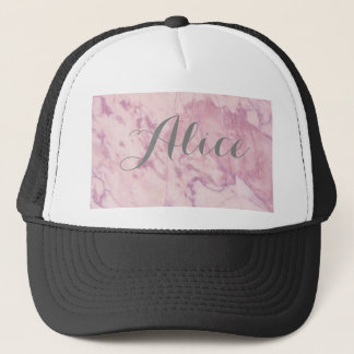 Elegant Pink Marble with Gray Name Trucker Hat