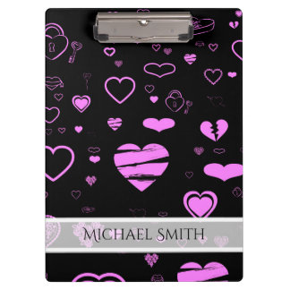 Elegant Pink Modern Heart Pattern Clipboard