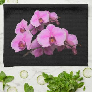 Elegant Pink Orchids Phalaenopsis on Black Tea Towel