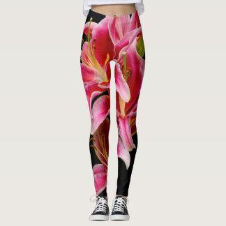 Elegant Pink Oriental Lilies Leggings
