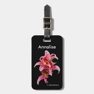 Elegant Pink Oriental Lilies Luggage Tag