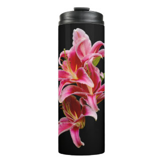 Elegant Pink Oriental Lilies Thermal Tumbler