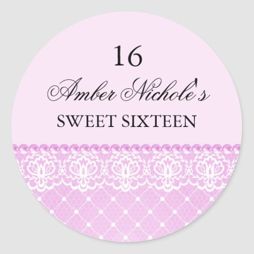 Elegant Pink Pearl & Lace | Sweet 16 Sticker