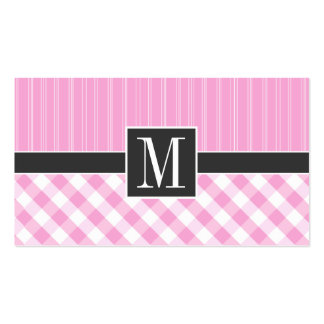 Elegant Pink Plaid; Checkered Pack Of Standard Business Cards