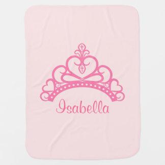 Elegant Pink Princess Tiara, Crown for Baby Girls Receiving Blankets