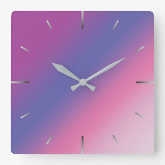 elegant pink purple blue ombre gradient colorful square wall clock