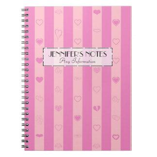 Elegant Pink Purple Stripes Modern Heart Pattern Notebooks