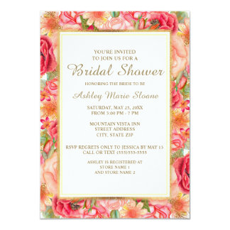 Elegant Pink Red Gold Roses Bridal Shower Card