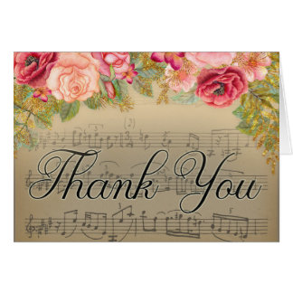 Elegant Pink Red Roses Music Piano Teacher Thank Card