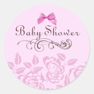 Elegant Pink Rose Baby Shower Envelope Sticker