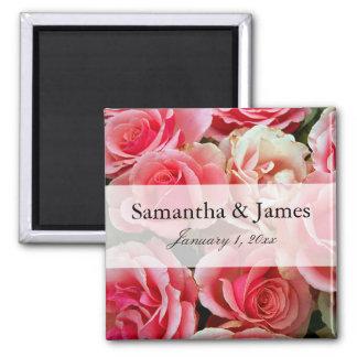 Elegant Pink Rose Bouquet Personalized Wedding Magnet