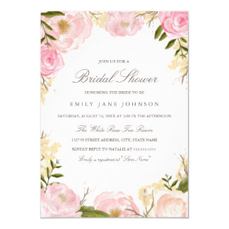 Elegant Pink Rose Bridal Shower Invitation