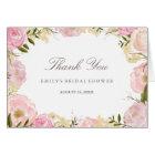 Elegant Pink Rose Bridal Shower Thank You Card